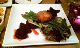 Beet Salad With Crab Cake And Asparagus